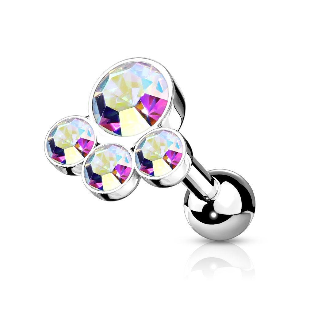Helix Piercing mit 4 runden Glitzer Steinchen