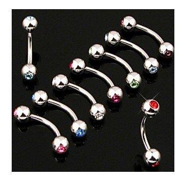 Augenbrauen Piercing mit Stein - 12 Farben