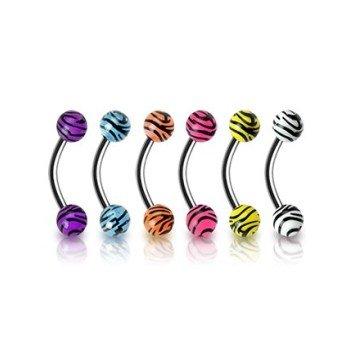 Zebra Look Augenbrauenpiercing - 6 Farben