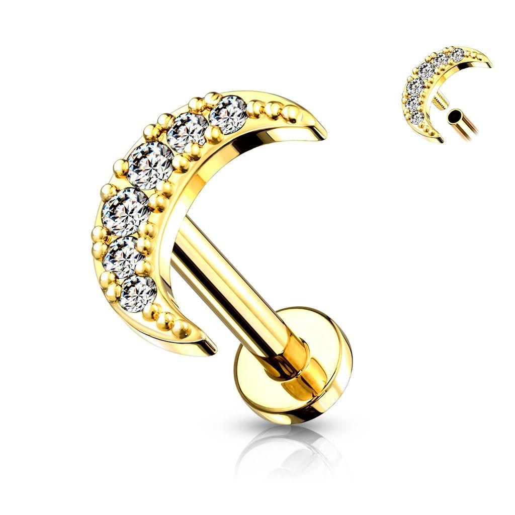 Helix Piercing Halbmond mit kleinen glitzer Steinchen