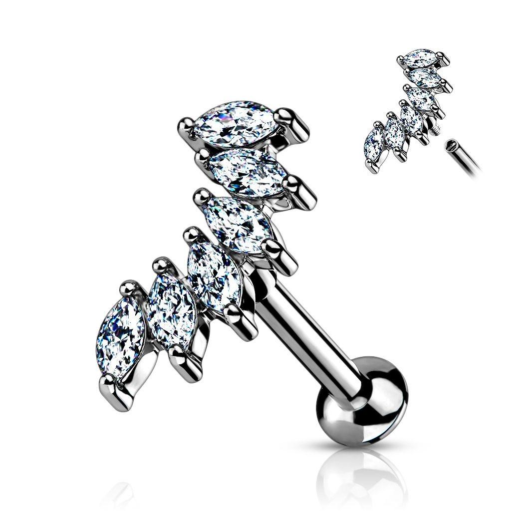 Helix Piercing mit 6 kleinen Zirkoniasteine