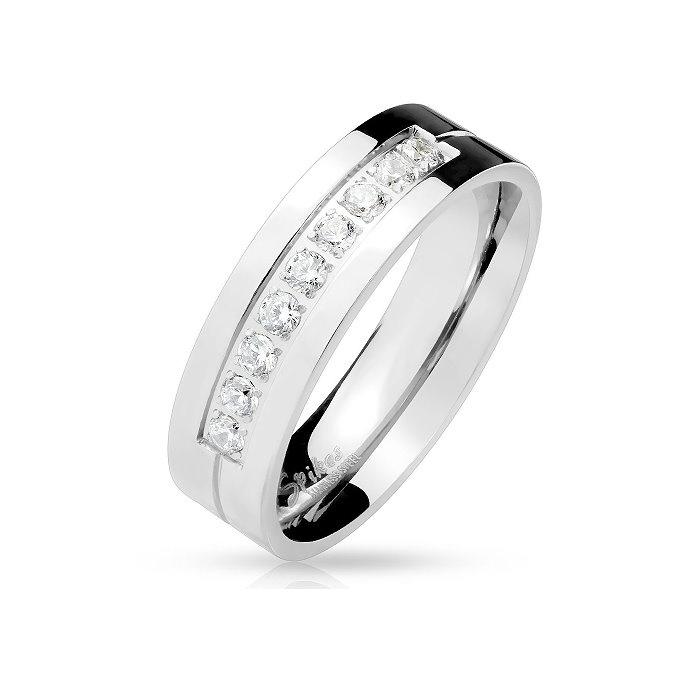 Edelstahl Damen Ring mit Zirkoniasteine