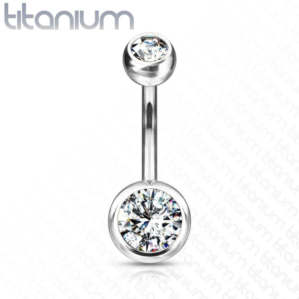 Bauchnabelpiercing Titan G23 Kristall
