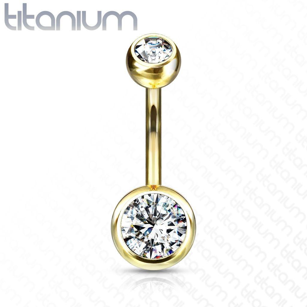 Bauchnabelpiercing Titan G23 -goldfärbig