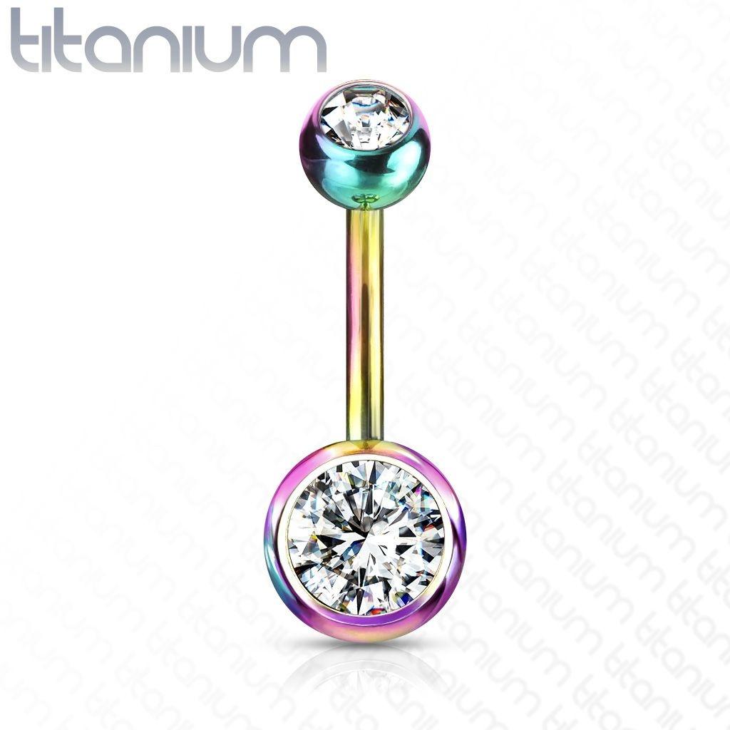 Regenbogenfärbiges Bauchnabelpiercing Titan G23