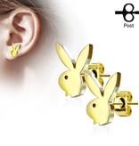 1 paar goldfärbige Ohrstecker Playboy