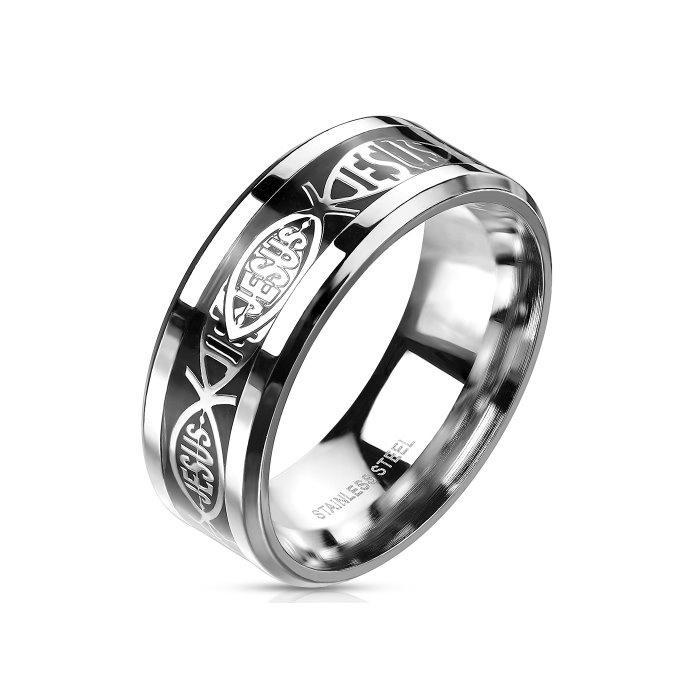 Herren Edelstahl Ring Jesus - 60-70 mm