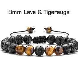 Armband Lavastein mit Tigerauge