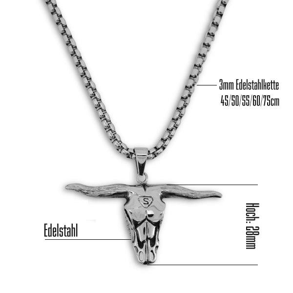 Kettenanhänger Stierkopf aus Edelstahl