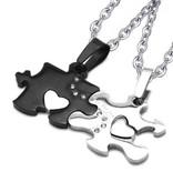 Partnerkette Puzzle aus Edelstahl