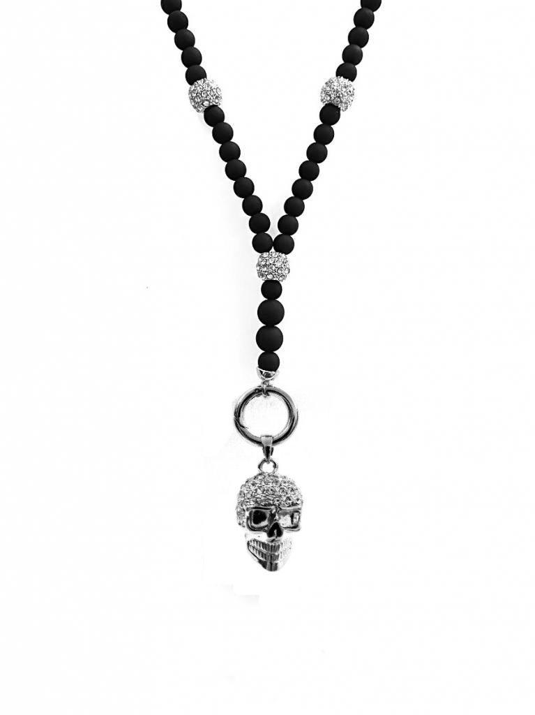 Lange Damen Halskette mit Totenkopf Anhänger