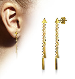 Goldfärbige Ohrringe lang