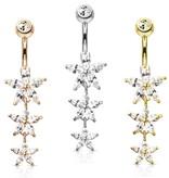 Bauchnabelpiercing mit drei kristall Sternen