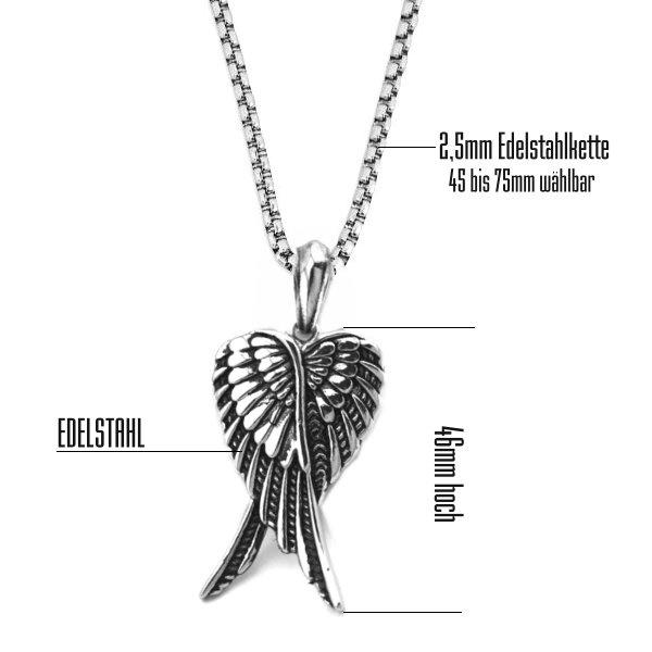 Flügel Kettenanhänger aus Edelstahl