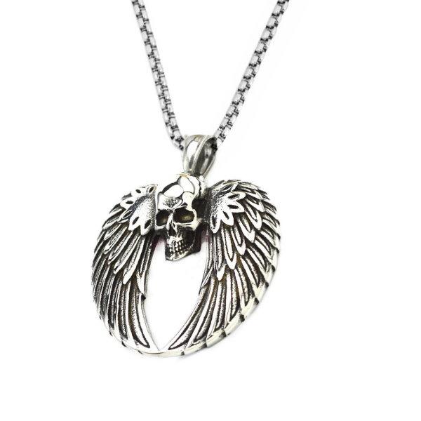 Edelstahlanhänger Totenkopf mit Flügel
