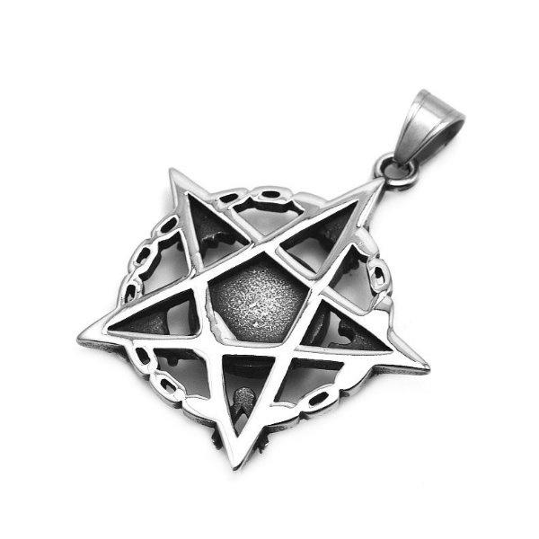 Edelstahlanhänger Pentagramm mit Auge