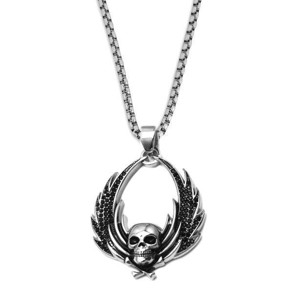 Totenkopfanhänger Edelstahl mit Flügel