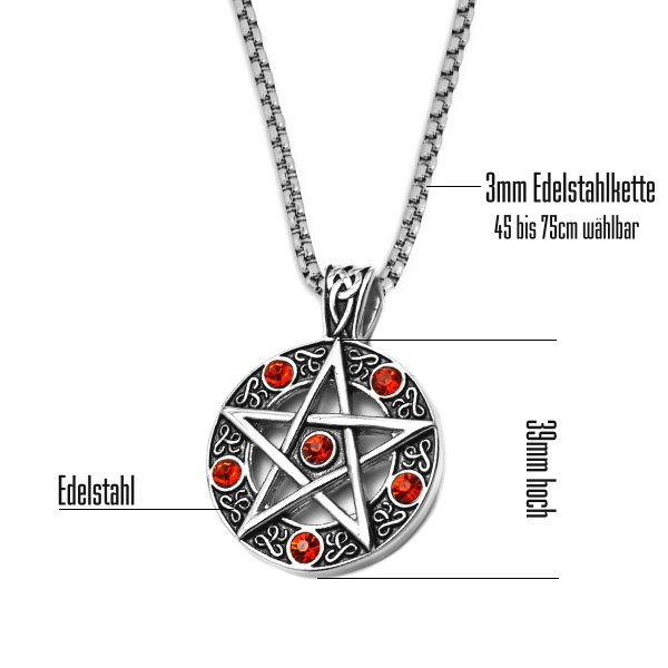 Pentagramm Edelstahlanhänger mit roten Steinchen