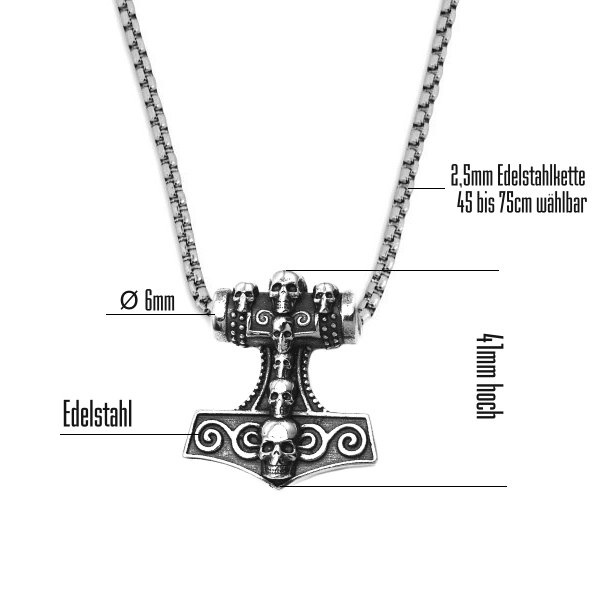 Ketteanhänger Thors Hammer aus Edelstahl