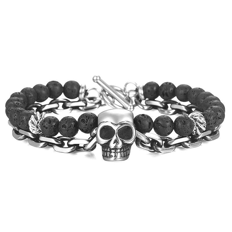 Schwarzes Lava Armband mit Totenkopf