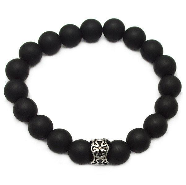 10mm Onyx Perlen Armband matt