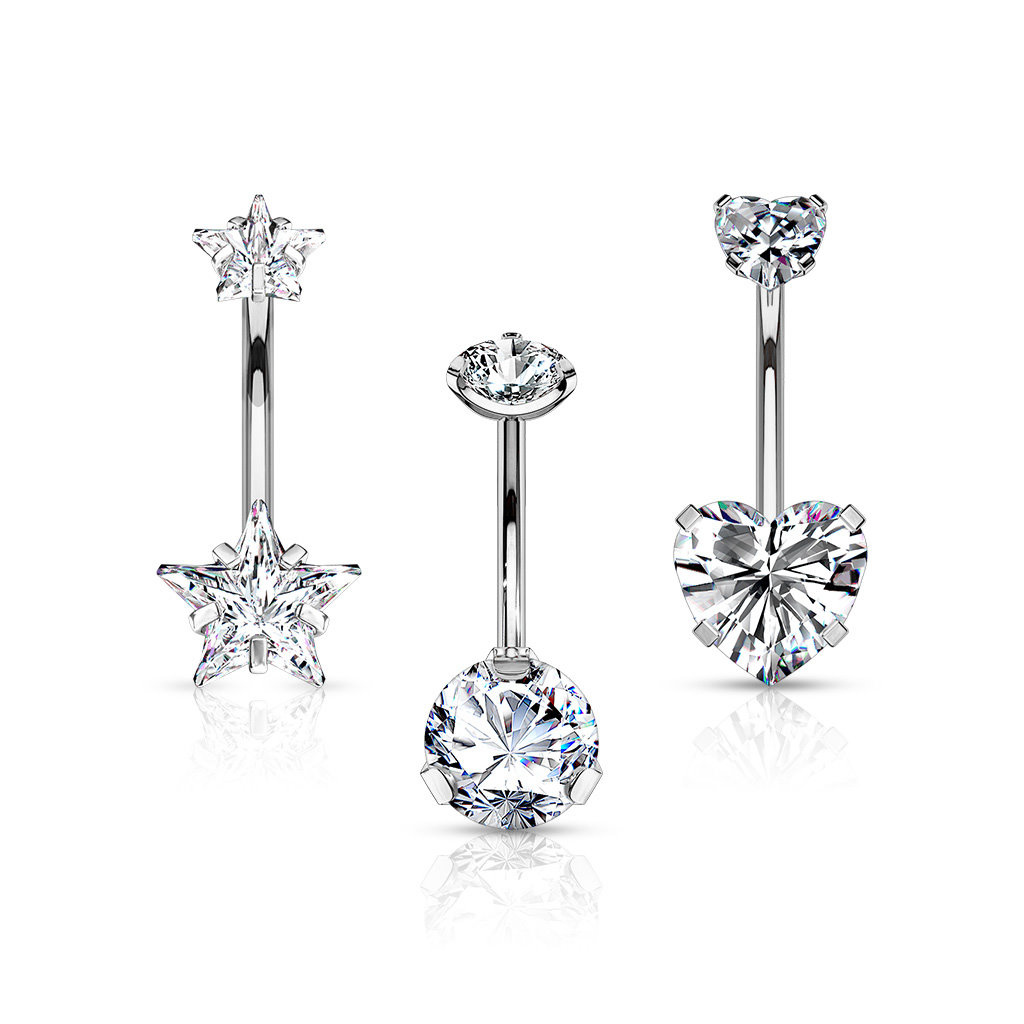3er Set Angebot Bauchnabelpiercing Kristall