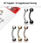 Set Angebot 5x Augenbrauen Piercing