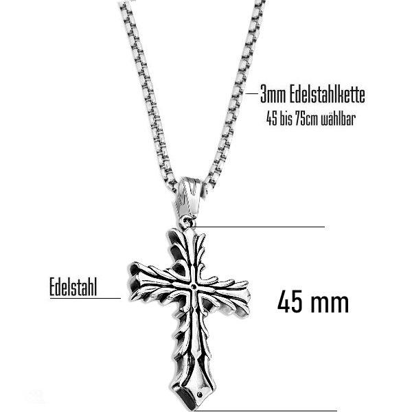 Kreuz Kettenanhänger Edelstahl
