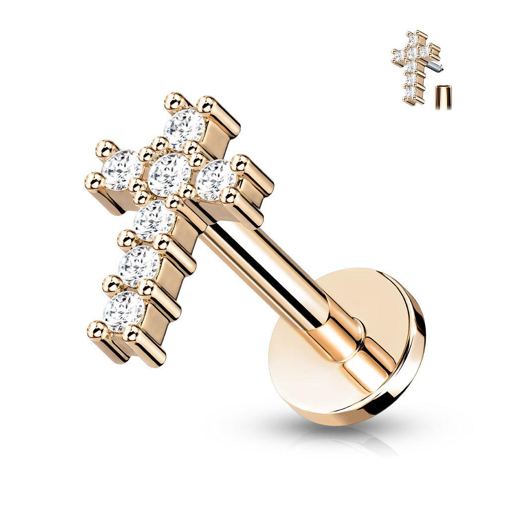 Piercingstecker Kreuz mit kristall Zirkonia