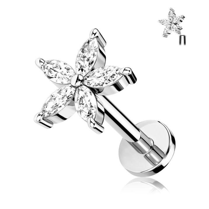 Piercing Stecker Blume mit Stein