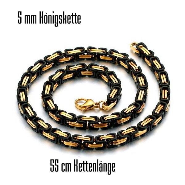 5 mm Königskette aus Edelstahl schwarz-gold