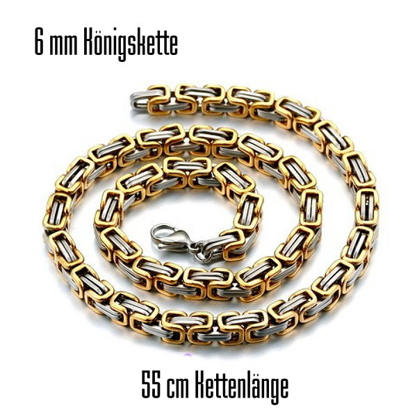 6 mm Königskette silber-goldfärbig