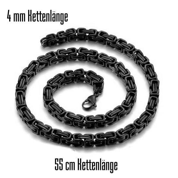 Schwarze 4 mm Königskette - 55 cm Kettenlänge
