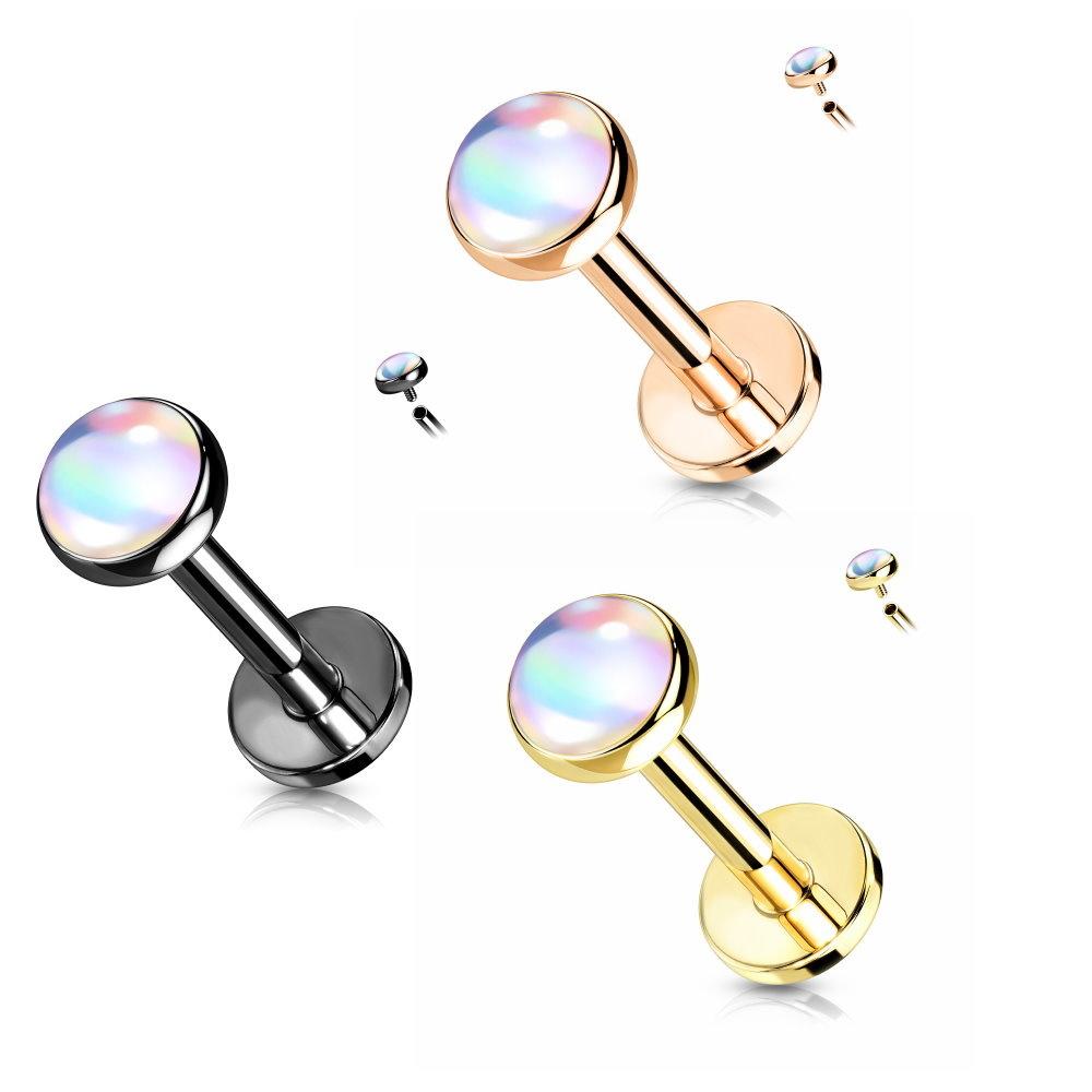 Piercingstecker schillernder Stein - 3 Farben zur Auswahl
