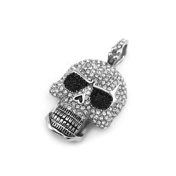 Schwarze Biker Halskette Skull