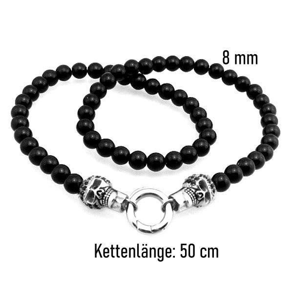 Schwarze Totenkopf Halskette aus Edelstahl