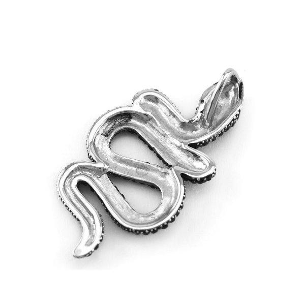 Schwarze Halskette Totenkopf mit Schlange