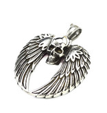Schwarze Damen Halskette Skull mit Flügel