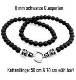 Schwarze Perlenkette mit Totenkopf & Flügel