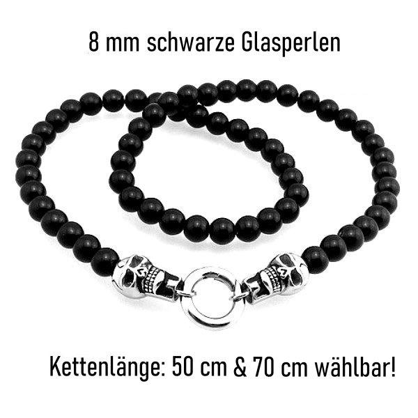 Schwarze Halskette mit Schlangenanhänger