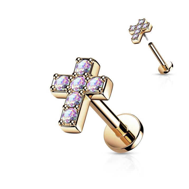 Tragusstecker Kreuz mit Zirkoniastein