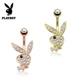 Goldfärbiges Playboy Bauchnabelpiercing