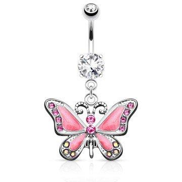 Bauchpiercing pink - Schmetterling