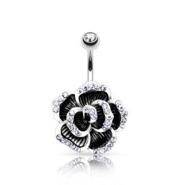 Bauchnabelpiercing schwarze Blume mit Steinchen