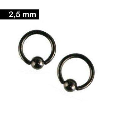 2,5 mm Piercingring schwarz
