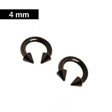 4 mm Piercingring mit Kegeln - schwarz