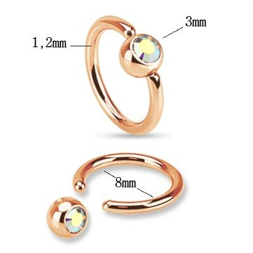 1,2 mm Rose Piercingring mit Buntkristall