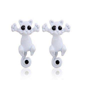 1 Paar Ohrringe Katze weiß