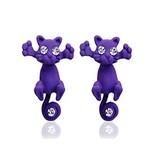 1 Paar Ohrringe Katze violett