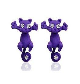 1 Paar CAT 3D Ohrringe Katze violett